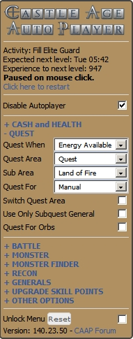 Automatically level up with the Castle Age Auto Player cheat script