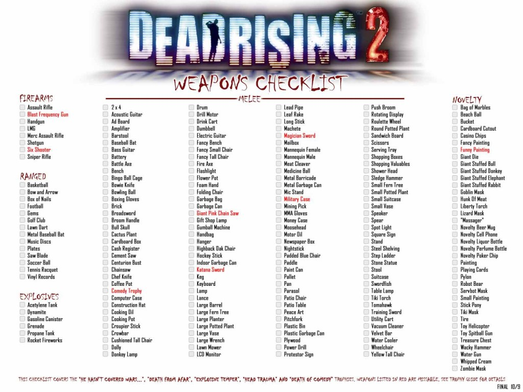 Dead Rising 2 full weapons checklist for achievements & trophies
