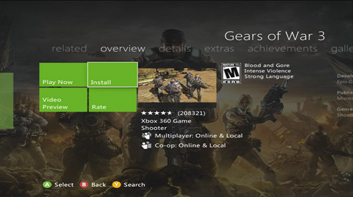 Install Games to the Xbox 360 Hard Drive - Game Details Screen