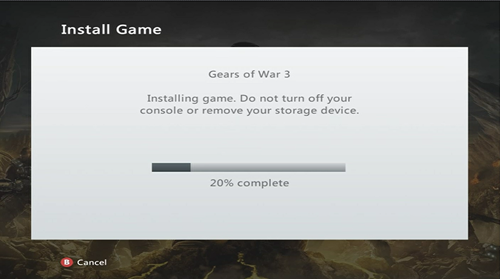 Install Games to the Xbox 360 Hard Drive - Installation Progress