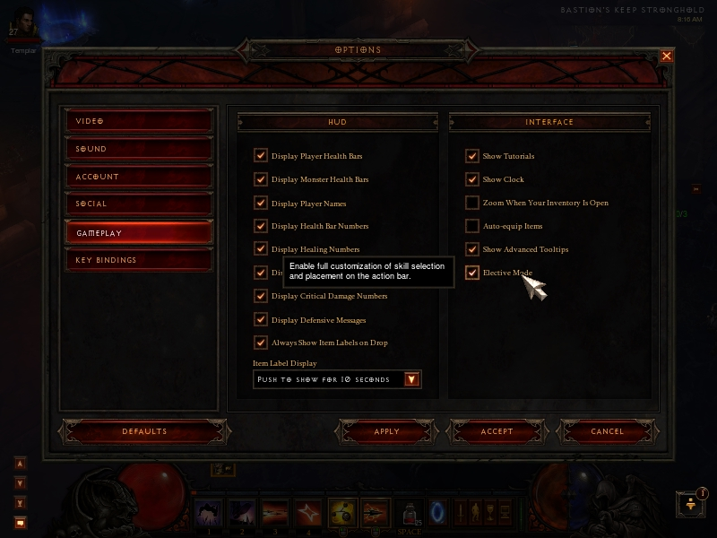 Diablo 3: Turn on Elective Mode