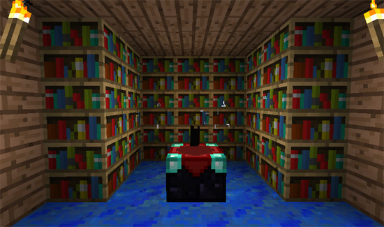 Minecraft: Enchantment table surrounded with bookshelves - Minecraft: How To Make A Bookshelf – GameTipCenter