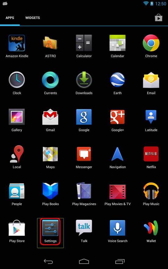 Google Nexus 7 - Settings