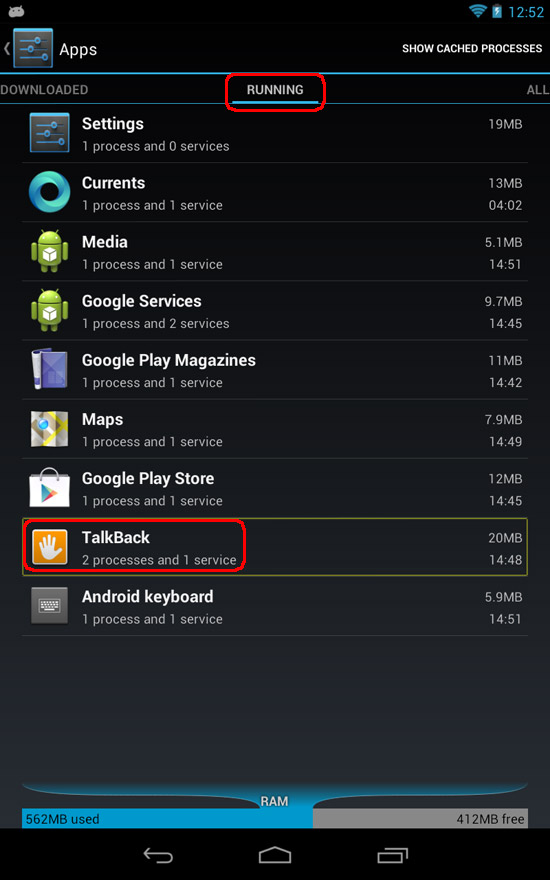Google Nexus 7 - Settings - Apps - TalkBack
