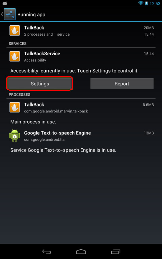 Google Nexus 7 - TalkBack Settings