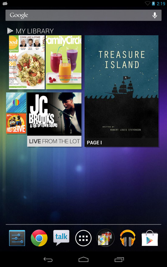 Google Nexus 7 Tablet - Home Screen Widget
