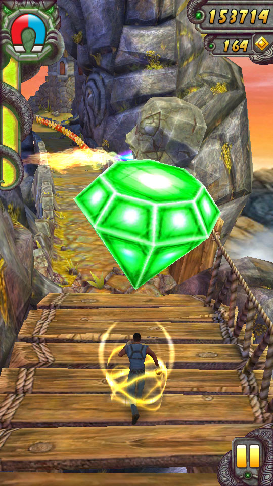Collecting gems in Temple Run 2