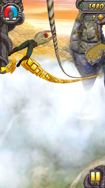 Can you jump off the rope to reach that ledge in Temple Run 2?