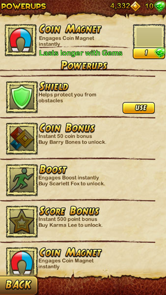 How to use powerups in Temple Runs 2 - Powerups Menu