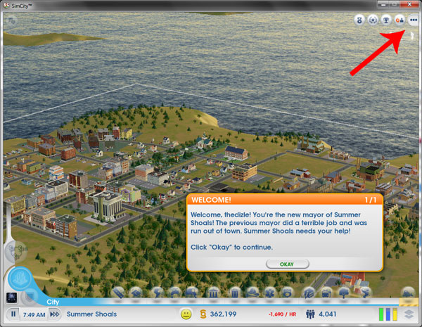 How to skip the getting started tutorial in SimCity - Options Menu